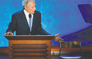Actor Clint Eastwood speaks an empty chair, representing President Barack Obama, at the Republican National Convention at the 2012 Republican National Convention in Tampa on Aug. 30, 2012.(HARRY E. WALKER/TNS)