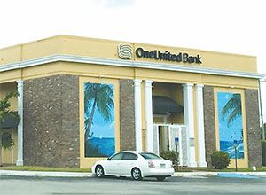 One United Bank, located in Miami, is Florida's only Black-owned bank. Go to www.oneunited.com to open an online account. The bank's only Florida branch is located at 3275 NW 79th Street in Miami, zip code 33147.