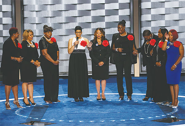 Geneva Reed-Vead, the mother of 28-year-old Sandra Bland, speaks as the Mothers of the Movement make an appearance during the second day of the Democratic National Convention on Tuesday at the Wells Fargo Center in Philadelphia.