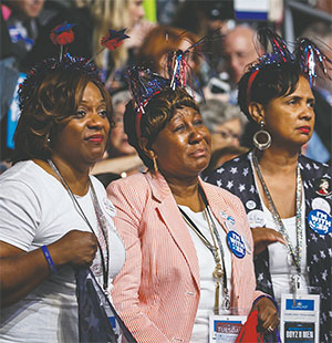 Delegates get emotional listening to the personal stories of the Mothers of the Movement during the second day of the Democratic National Convention.(PHOTOS BY MARCUS YAM/LOS ANGELES TIMES/TNS)