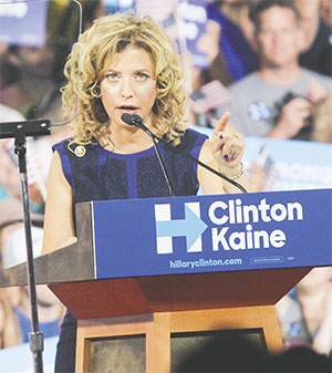 U.S. Rep. Debbie Wasserman Schultz speaks at Florida International University on July 23 during an event where Hillary Clinton presented Virginia Senator Tim Kaine as her running mate.(KIM GIBSON/FLORIDA COURIER)