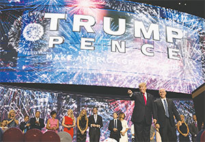 Republican presidential candidate Donald Trump accepts the party's nomination on the last day of the Republican National Convention on July 21 at Quicken Loans Arena in Cleveland.(BRIAN VAN DER BRUG/LOS ANGELES TIMES/TNS)