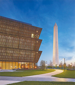 The new National Museum of African American History has a prime location on the National Mall across from the Washington Monument.(ALAN KARCHMER / SMITHSONIAN)