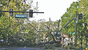 Downed power lines and trees have created major road blockages and hazards in Daytona Beach like this scene on Keech Street.(DUANE C. FERNANDEZ SR./HARDNOTTSPHOTOGRAPHY.COM)