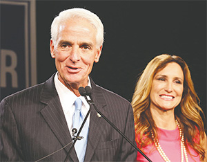 Charlie Crist thanks supporters, with his wife, Carole, during his concession speech after losing to Rick Scott, in St. Petersburg, on Nov. 4, 2014.(JOE BURBANK/ORLANDO SENTINEL/TNS)
