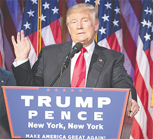 Donald Trump will be the face of American power for at least the next four years.(J. CONRAD WILLIAMS JR./NEWSDAY/TNS)