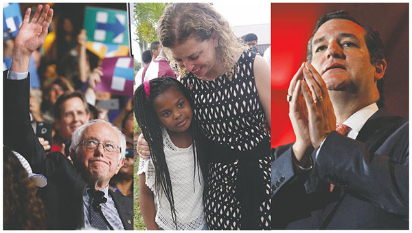"Left:  Sen. Bernie Sanders waves after conceding the nomination to Hillary Clinton on the second day of the Democratic National Convention on July 26. (CAROLYN COLE/LOS ANGELES TIMES/TNS)Center:  U.S Rep. Debbie Wasserman Schultz, D- Fla, hugs Amaya Thomas, 9, during the ""Souls to the Polls"" march on Nov. 6 in Fort Lauderdale. (JOE CAVARETTA/SUN SENTINEL/TNS)Right:  U.S. Sen. Ted Cruz, R- Texas, ended up endorsing Trump after a contentious primary battle. (RICHARD W. RODRIGUEZ/FORT WORTH STAR-TELEGRAM/TNS)"