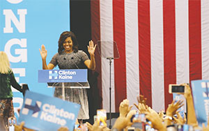 First lady Michelle Obama speaks at a campaign rally for Democratic presidential candidate Hillary Clinton at Phoenix Convention Center in Phoenix on Oct. 20.(KRISTIANA FADDOUL/CRONKITE NEWS/TNS)