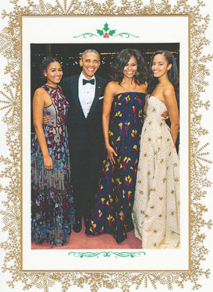 """This month, the Obama family sent their last Christmas card out as America's """"First Family."""""""