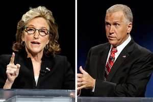Incumbent Democrat Kay Hagan and Republican Thom Tillis battled for US Senate seat.