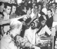 Lunch counter resistance during a Civil Rights skirmish.