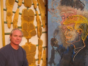 The artist with his work, Under Construction