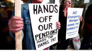 Detroit's public workers' pensions are tied up in bankruptcy.