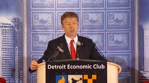 """Kentucky Republican Rand Paul spouts discredited """"trickle down"""" economics in Detroit on December 6, 2013."""