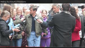 Joe Sestak commences his walking campaign for the US Senate in Center City Philadelphia.