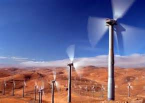 A wind farm in a California desert