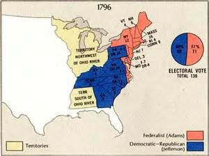 Election map for 1796, John Adams' only victory lap.