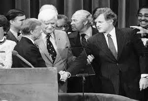 After conceding to Carter, Kennedy put on a brave face of party unity.
