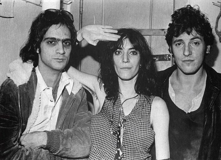 "Jimmy Iovine, Patti Smith, Bruce Springsteen in a NYC recording studio, where Springsteen gifted Smith ""Because the Night."""