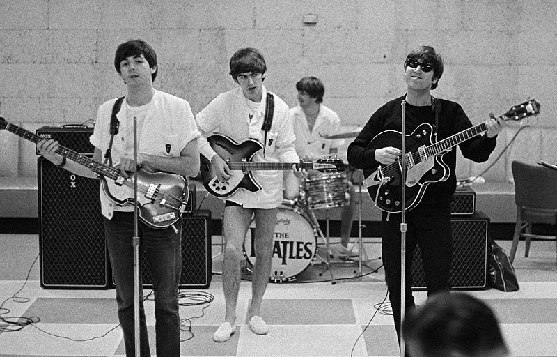 The Beatles in Miami rehearsing for the Ed Sullivan Show, February 16, 1964.