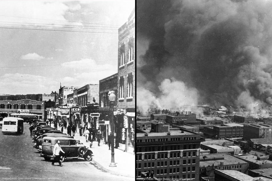 Montage of the Greenwood section of Tulsa, OK and the 1921 massacre caused by a white mob.