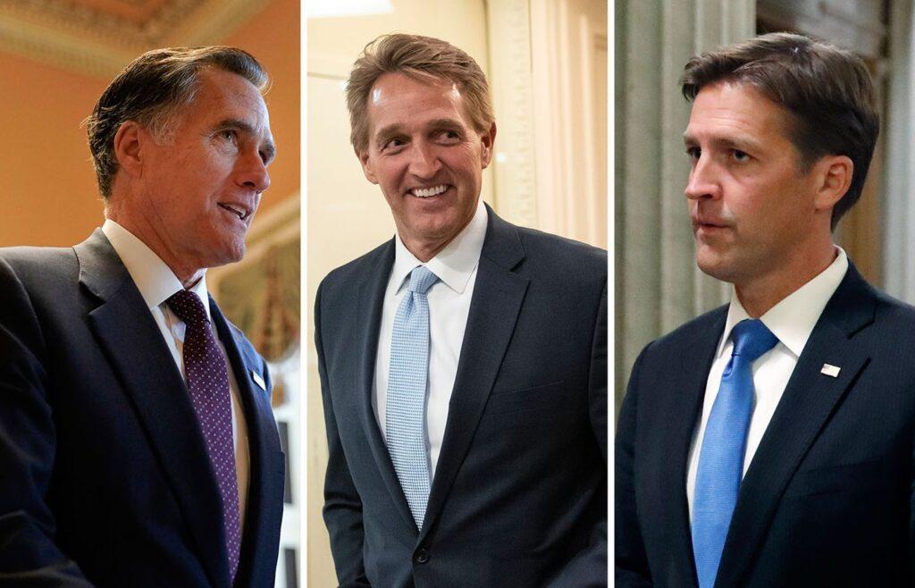 Senator Mitt Romney, ex-Senator Jeff Flake and Senator Ben Sasse. Romney and Sasse could end up like Flake.