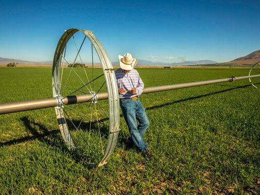Farmer with an Irrigation Wheel