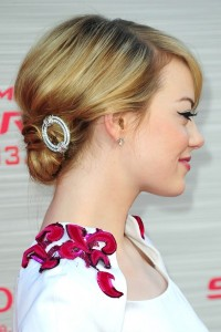 """We love """"Emma's Stones!"""" An upswept bob and simple rhinestone barrette at the nape of her neck says effortless style!"""