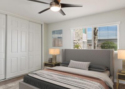 Furnished master bedroom at the Heights