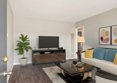 Furnished living room at the Heights