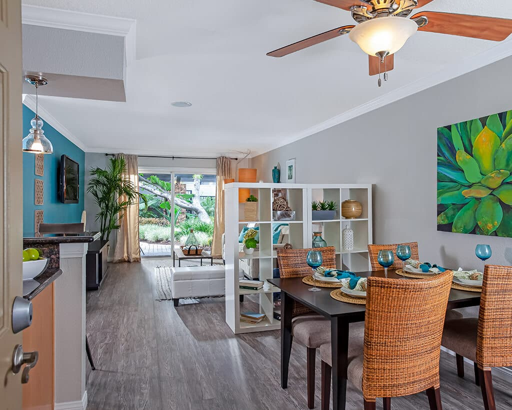 Main living area at Beachwood Apartments with furniture