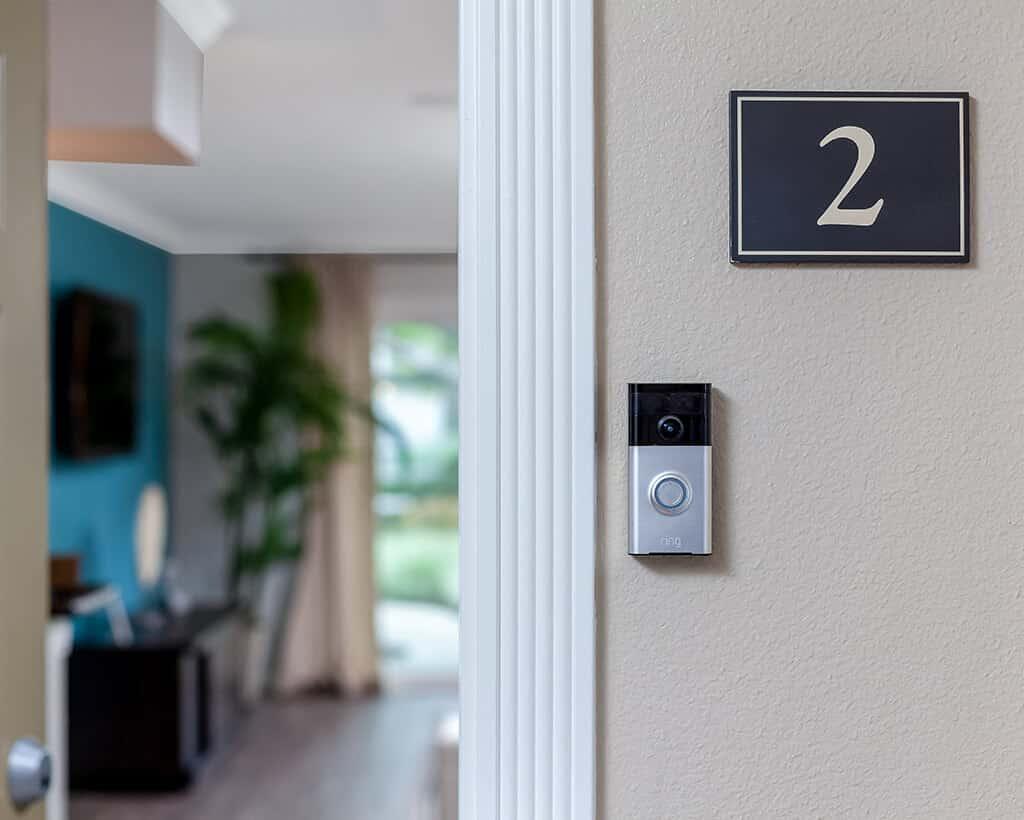 Ring Video Doorbell at Unit 2 of Beachwood Apartments