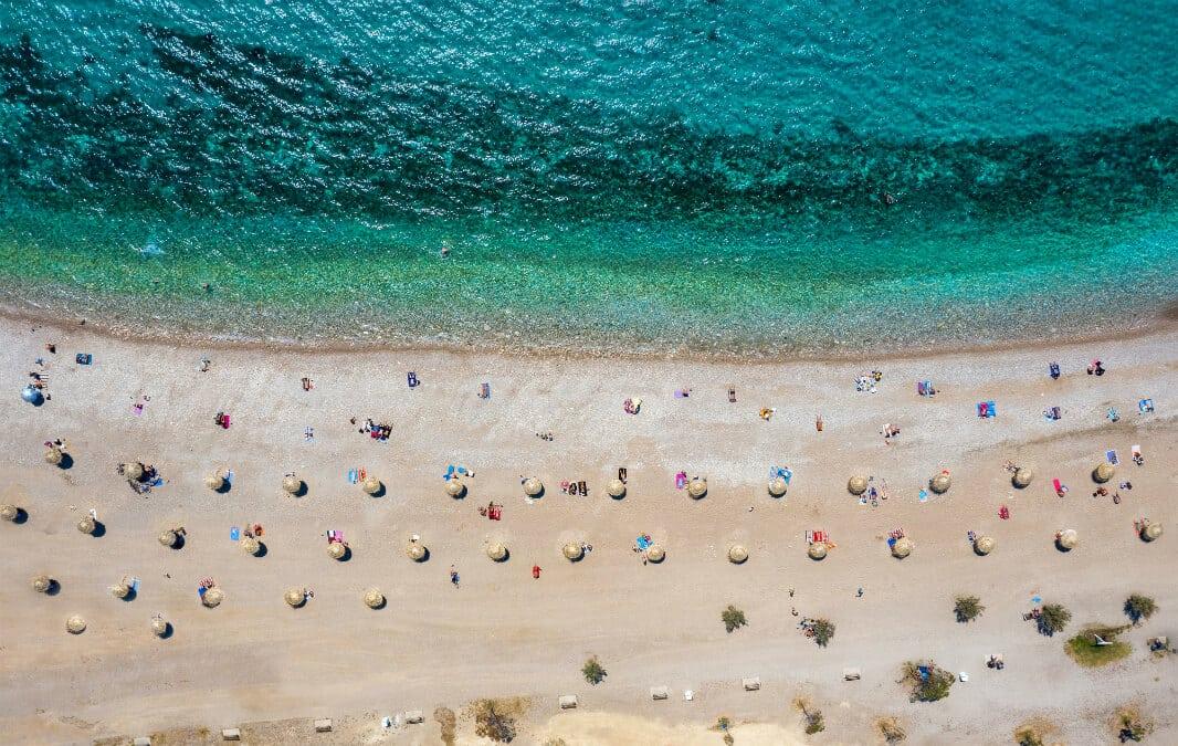 Aerial view of a beach