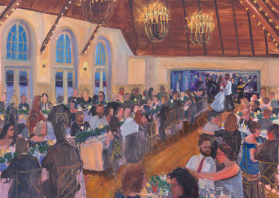 Alex and Adam at Old Field Club, wedding painting with ambiance and first dance