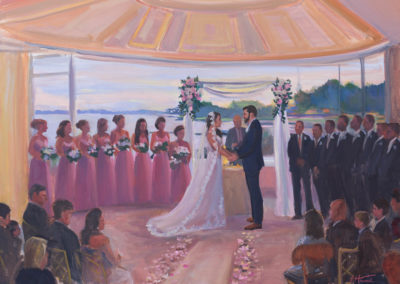 Live Event Painting at Glen Island Harbor Club Ceremony by Janet Howard-Fatta