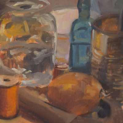 Onion, Orange Spool, still life painting