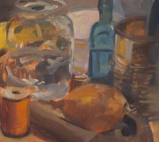 Onion, Orange Spool, still life painting