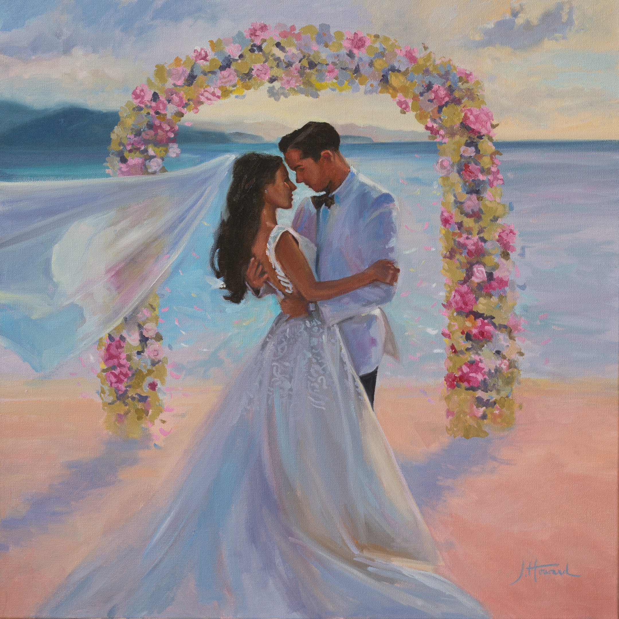 Beach Wedding Painting from photos