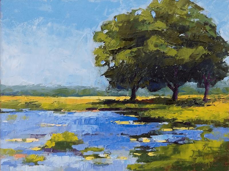 live oaks on the marsh