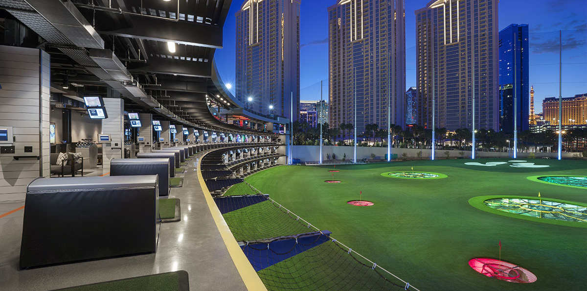 hitting bays and course at topgolf las vegas