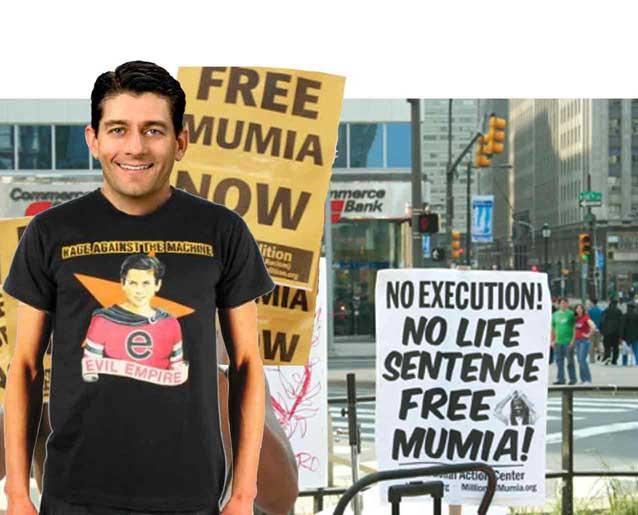 paul ryan wearing rage against the machine t-shirt at free mumia rally