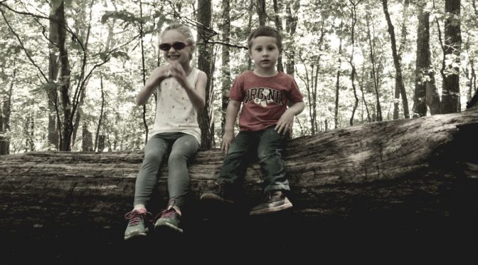 photo of my children sitting on a log in the woods