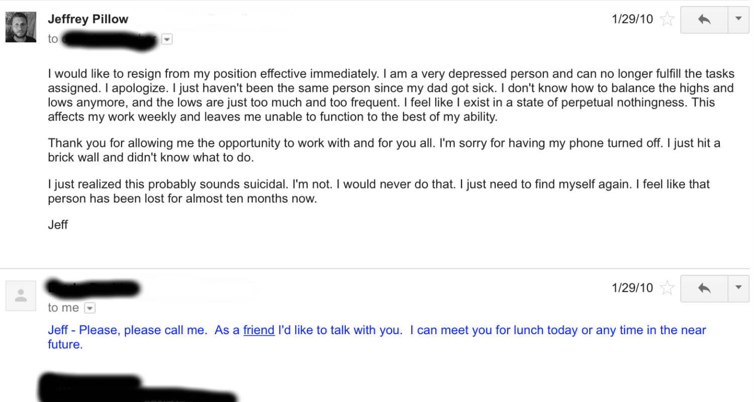 an email about quitting my job when i was severely depressed