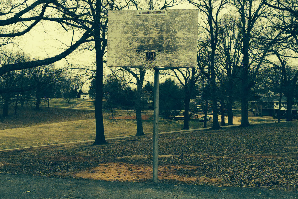 old basketball goal and hoop