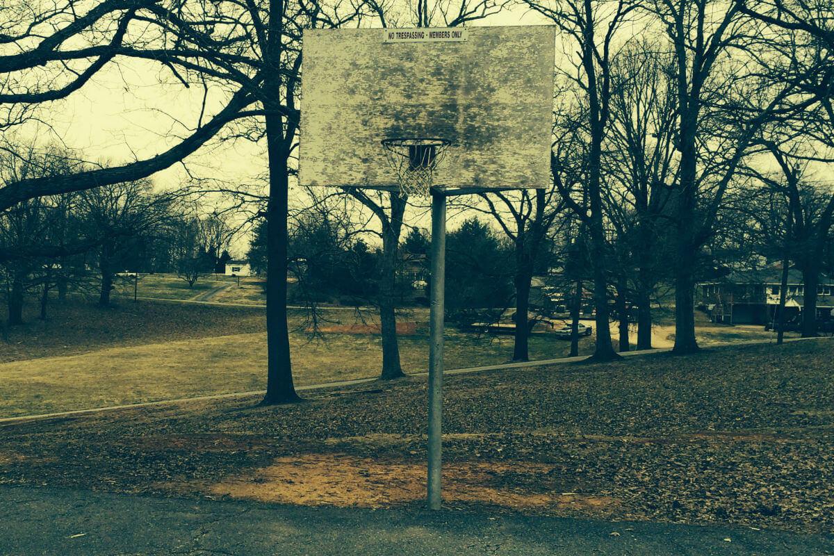 old basketball goal and hoop