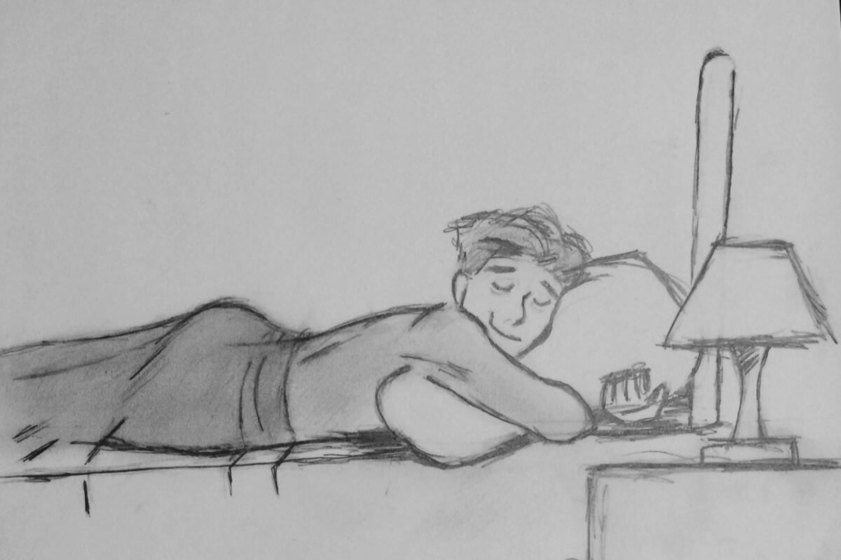cartoon sketch of a man asleep in bed hugging pillow