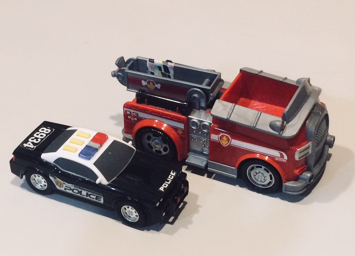toy fire truck and police car