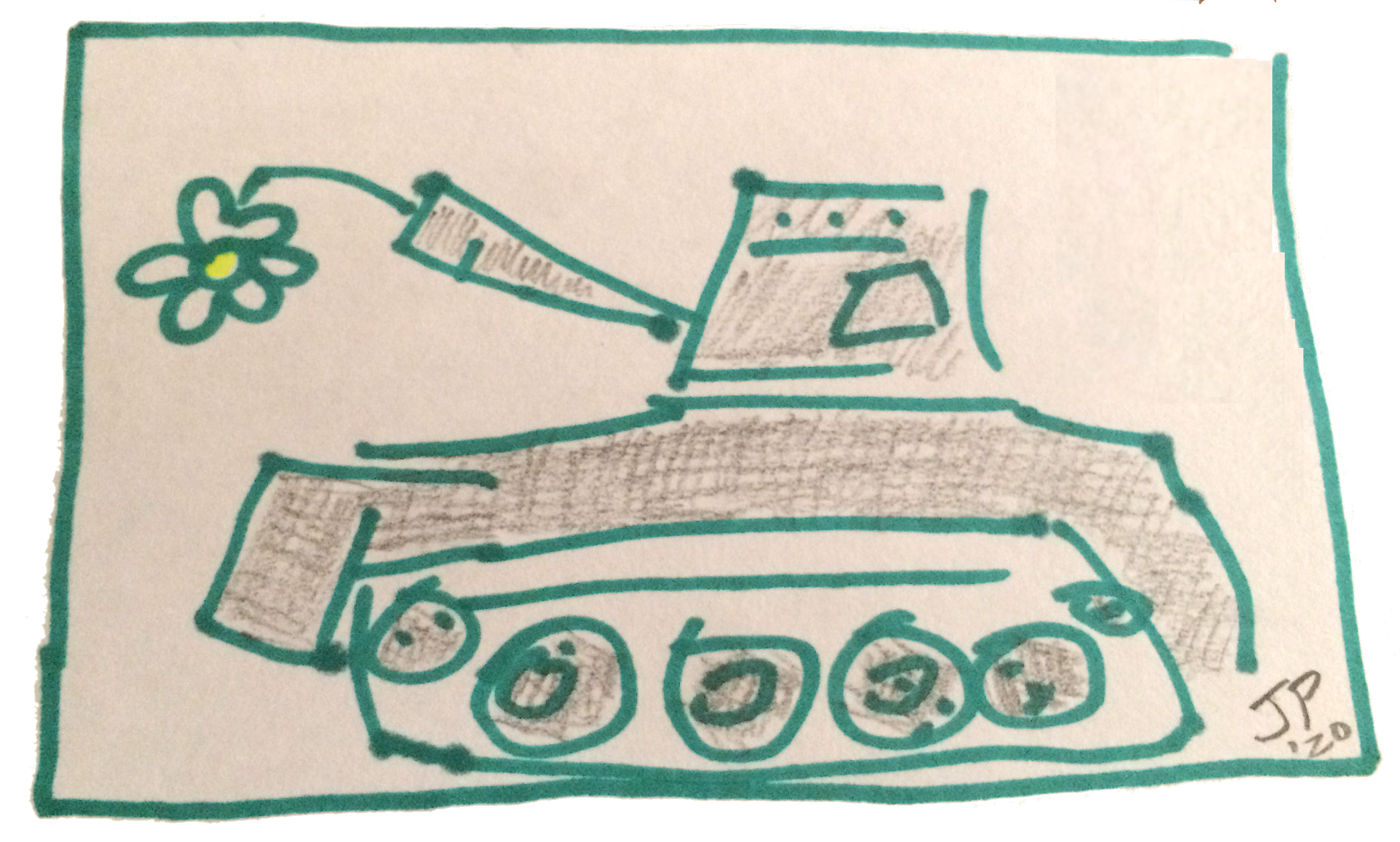 tank with flower