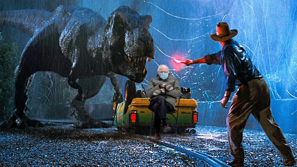 Bernie meme: Jurassic Park