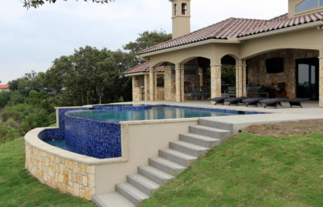 back deck and pool side view
